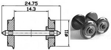 ROCO 40198 — Колёсная пара с одной изоляторной втулкой для DC, диаметр колеса 11мм