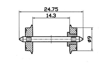 ROCO 40194 — Колесная пара (изолированная) Ø9мм, H0