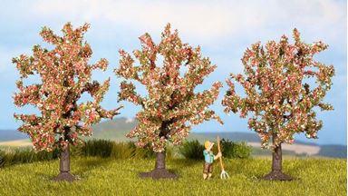NOCH 25112 — Цветущие фруктовые деревья (~80мм, 3 шт.), 1:72—1:120