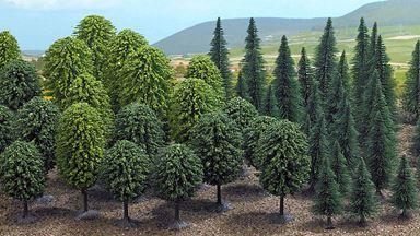BUSCH 6591 — Лиственные и хвойные деревья (50 шт, ~30—60мм), 1:72—1:160