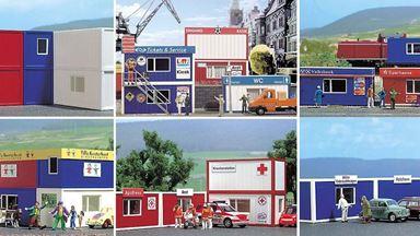 BUSCH 1031 — Набор контейнеров (6 жилых и офисных контейнеров, NEM 380), 1:87