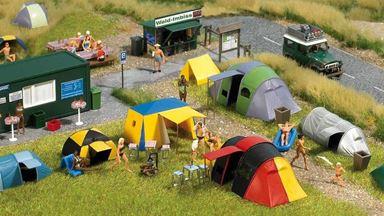 BUSCH 6044 — Кемпинг, набор: площадка для отдыха в палатках, 1:87