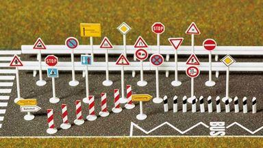 BUSCH 6027 — Дорожные знаки и указатели (70 шт.), H0