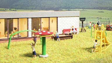 BUSCH 1163 — Детская площадка (игровой комплекс для детей), 1:87