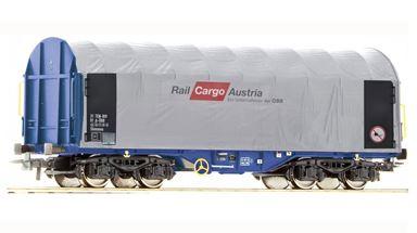 ROCO 67155x1 — Платформа Shimmns крытая тентом «Rail Cargo Austria» (1 шт.), H0, IV, ÖBB