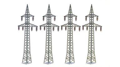 KIBRI 38533 — Высоковольтные мачты ЛЭП ~295мм (4 шт.), 1:72—1:100