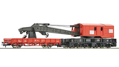 ROCO 56240 — Кран c платформой, ремонтный состав, H0, V, DB-AG