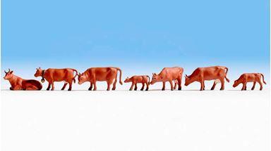 NOCH 15720 — Коровы (коричневые) с телятами (7 фигур), 1:87