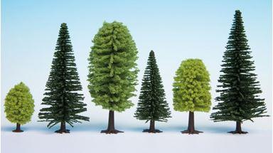 NOCH 26911 — Лиственные и хвойные деревья (~50—140мм, 10 шт.), 1:72—1:120