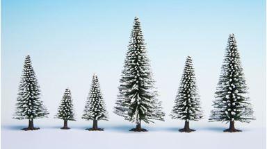 NOCH 26929 — Ели (пихты) в снегу (5 шт.) ~50—90мм, 1:87—1:120