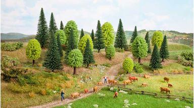 NOCH 26811 — Смешанный лес ~50—140мм (25 деревьев) без основы, 1:72—1:120