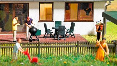 BUSCH 1190 — Набор для дачного отдыха: садовая мебель и гриль-барбекю, 1:87