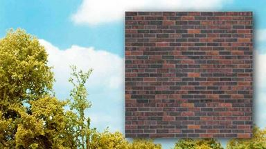 BUSCH 7424 — Клинкерная плитка тёмная (картон, 210×148мм, 2 шт.), 1:87—1:120