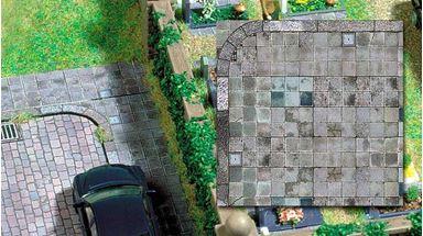 BUSCH 7418 — Тротуарная плитка (картон, 210×148мм, 2 шт.), 1:87—1:120
