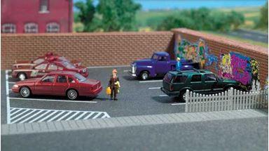 BUSCH 7076 — Асфальтировая парковка (самоклеющаяся бумага ~200×160мм), 1:72—1:100