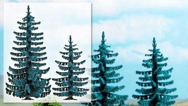 BUSCH 6130 — Голубые ели (2 шт., ~55 и 70мм), 1:87—1:120