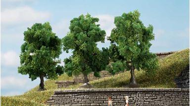 AUHAGEN 70936 — Лиственные деревья тёмно-зелёные (3 шт., ~70мм), 1:72—1:120