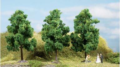 AUHAGEN 70938 — Лиственные деревья тёмно-зелёные (3 шт., ~110мм), 1:87—1:120