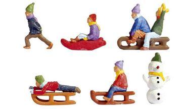 NOCH 15819 — Дети на санках зимой (6 фигурок), 1:87