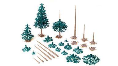 AUHAGEN 71938 — Хвойные деревья (~40—110мм, 12 шт.), 1:72—1:120