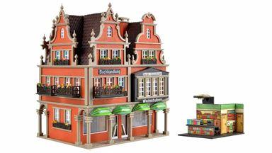 VOLLMER 43842 — Жилой дом с офисами, книжным и винным магазинами (внутреннее освещение), 1:87