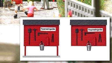 BUSCH 1176 — Пожарный щит с инвентарём (2 шт.), 1:87