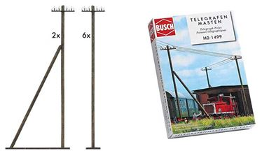 BUSCH 1499 — Телеграфные столбы (8 мачт), 1:87