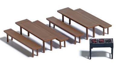 BUSCH 7782 — Скамейки, стулья и мангал, 1:87