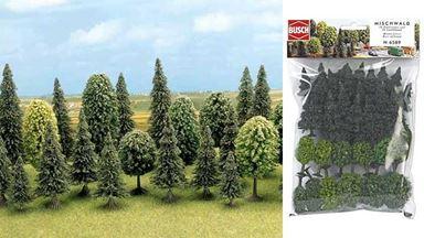 BUSCH 6589 — Лиственные (12 шт, ~40—50мм) и хвойные (18 шт, ~30—60мм) деревья, 1:100—1:250