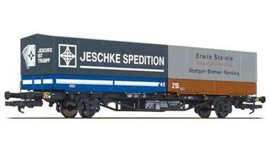 LILIPUT 235222 — Фитинговая платформа Lss-y 571 груженная 2-мя контейнерами, H0, IV, DB
