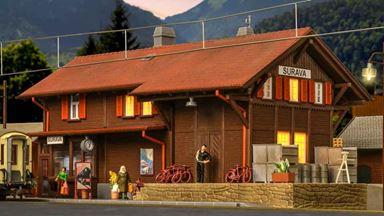 KIBRI 39519 — Вокзал железнодорожный «Surava» (свет), 1:87, Швейцария