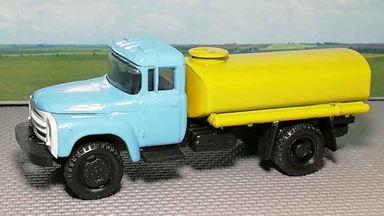 """RUSAM-ZIL-130-65-640 — Автоцистерна ЗИЛ 130 """"поливалка"""" (голубая-жёлтая), 1:87, 1963—1986, СССР"""