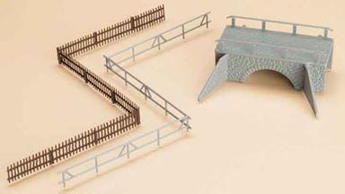 AUHAGEN 42555 — Каменный арочный мостик в комплекте с заборами, 1:87—1:120