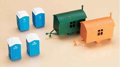 AUHAGEN 42641 — 2 строительных вагончика и 4 мобильных туалета, 1:87—1:120