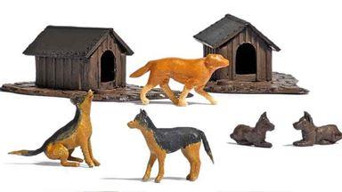 BUSCH 1197 — Набор: собаки, щенки и 2 будки, 1:87