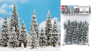BUSCH 6465 — Ели в снегу и снеговик (10 деревьев ~60—135мм), 1:87—1:120
