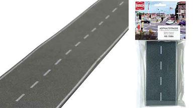 BUSCH 7086 — Асфальтовая дорога (самоклеющаяся бумага ~80×2000мм), 1:87