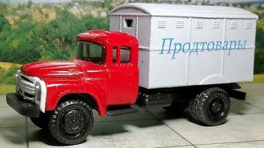 RUSAM-ZIL-130-41-201 — Автолавка ЗИЛ 130 «ПРОДТОВАРЫ» (красный-серый), 1:87, 1963—1986, СССР