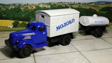RUSAM-ZIL-164-41-708-018 — Автомобиль ЗИЛ 164 «МОЛОКО» с полуприцепом, 1:87, 1957—1964, СССР