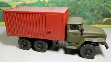 RUSAM-URAL-4320-05-130 — Грузовой автомобиль УРАЛ 4320 с 20-футовым контейнером, 1:87, 1979, СССР