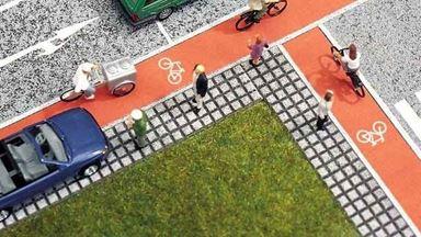 BUSCH 7082 — Велосипедная дорожка (самоклеющаяся бумага ~1000×15мм), 1:72—1:100