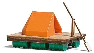 BUSCH 1564 — Плот с палаткой и платформой на 200 литровых бочках, 1:87