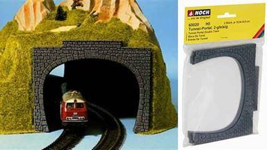 NOCH 60020 — Порталы тоннеля двухпутные (2 арки), 1:87