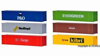 KIBRI 10922 — Морские контейнеры 40 футов (6 шт.), 1:87