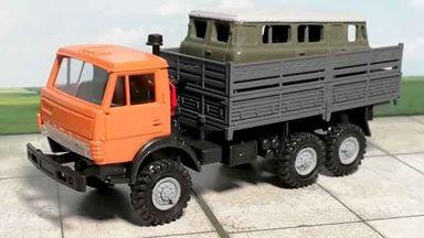 RUSAM-KAMAZ-4310-21-250 — Автомобиль КамАЗ гружёный кузовом УАЗ, 1:87, 1979, СССР