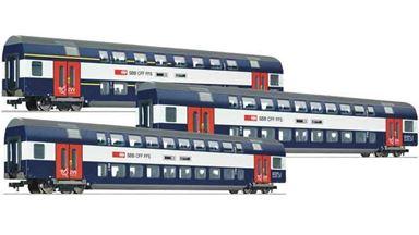 ROCO 64132X1 — Двухэтажный вагон DoSto 2/2, 1/2 класса, H0 (1:93), VI, SBB, DC