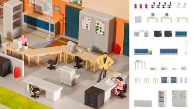 FALLER 180454 — Меблировка офисных помещений со столами, 1:87, 1978–1985