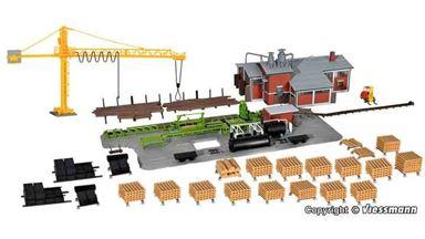 KIBRI 39816 — Лесопильный завод с краном и внутренним оборудованием, 1:87