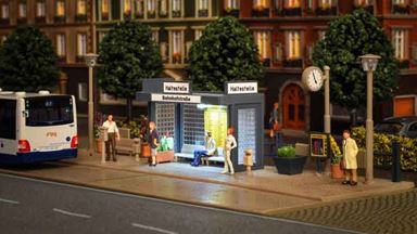 VOLLMER 45154 — Городская автобусная остановка (светодиодное освещение), 1:87
