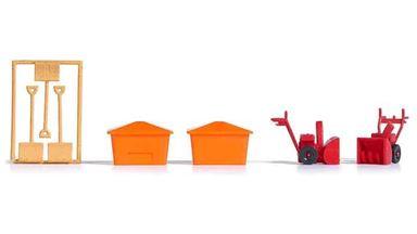BUSCH 1181 — Снегоуборочная машина, лопата для снега и контейнер для песка, 1:87